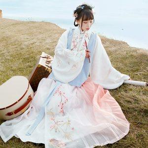 【十三余 小豆蔻儿】[琴师]交领短袄比甲百迭裙刺绣汉服女秋冬款