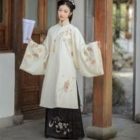 林溪涧宫灯吹樱落明制汉服女中国风套装立领长衫秋冬长袄原创设计