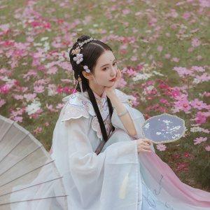 钟灵记兔月仙对襟立领传统汉服广袖长衫配饰兔子云肩明制褶裙春秋