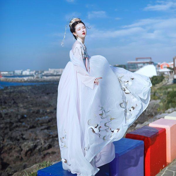 芥子记鹤清赋齐胸襦裙6米摆重工刺绣汉服女春正品原创中国风飘逸