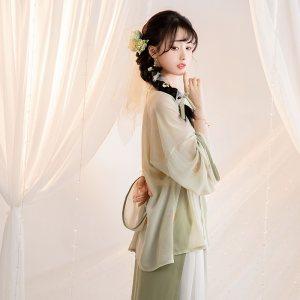 池夏:竹音 宋制对襟衫吊带两片旋裙三件套原创正品改良汉服女夏季