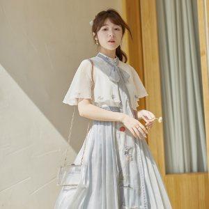 徐娇织羽集【静春山】日常改良汉元素夏新款 连衣裙 短披风两件套