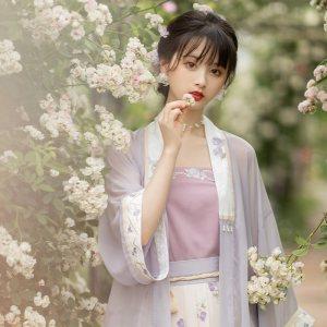 池夏 织梦:寄紫笺 宋制对襟短衫吊带中长褶裙原创改良汉服女夏季