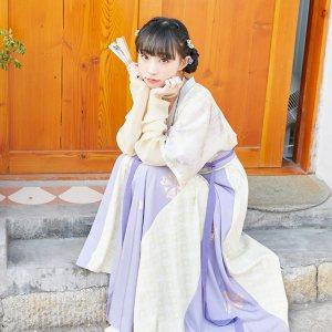 【十三余 小豆蔻儿】[洛神花事] 唐背子圆领衫破裙印花唐制汉服女