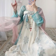远山乔【天水碧】原创唐制汉服女夏季薄款坦领上衣一片式齐胸破裙