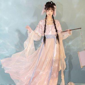 远山乔【花影月兔】坦领汉服女三件套刺绣半臂一片式齐腰裙