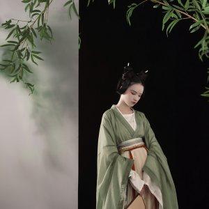【上遥居】晴山 南北朝原创汉服男女秋绿色大袖襦一片式印花破裙