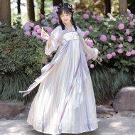 远山乔【柠檬茶】唐制汉服夏对襟上衫刺绣诃子配饰一片式齐胸衫裙